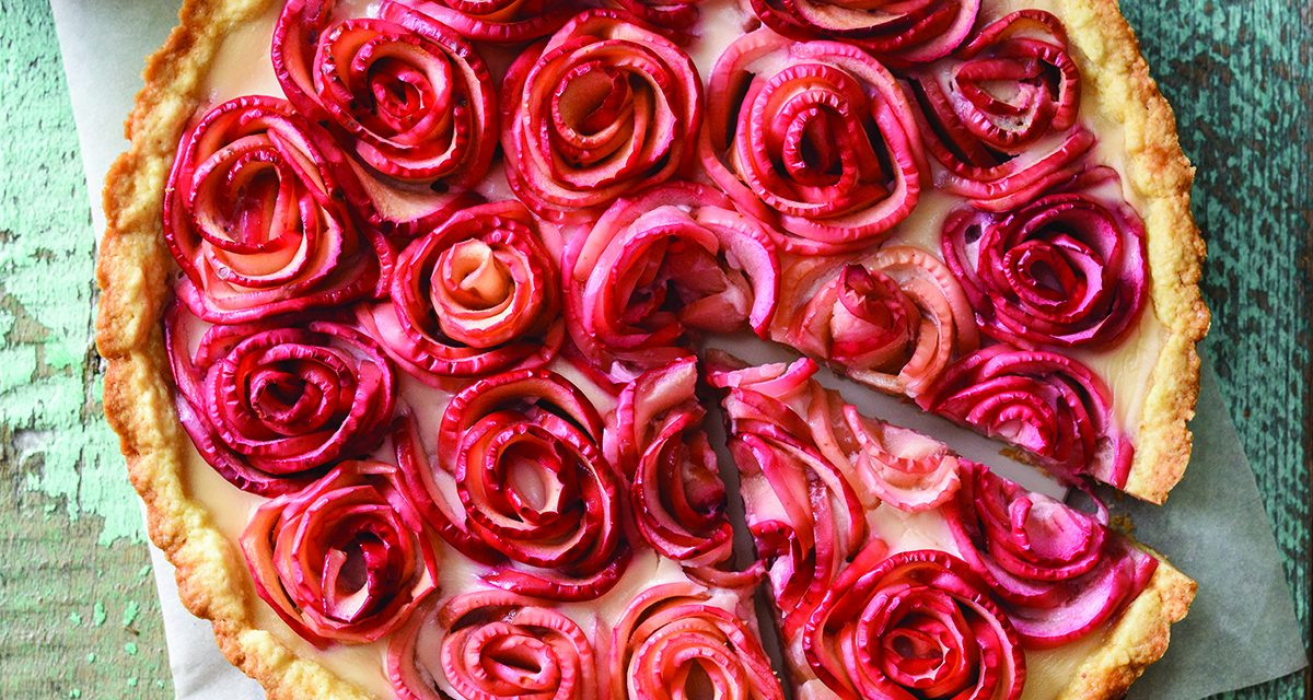 Rose Apple Pecan Tart with Cinnamon Custard